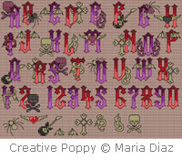 Gothic Rock alphabet - cross stitch pattern - by Maria Diaz