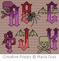 Gothic Rock alphabet - cross stitch pattern - by Maria Diaz (zoom 1)