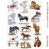 Mini Of The Woodlands >> Maria Diaz - Horses mini motifs (cross stitch pattern chart)