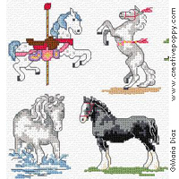 Horses Cross stitch Mini motifs