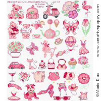 Maria Diaz - Favorite Pink mini motifs (cross stitch pattern chart)