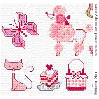 Favorite Pink Cross stitch mini motifs
