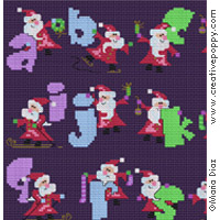 Santa's on his way Alphabet - cross stitch pattern - by Maria Diaz