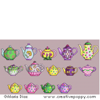 Teapot collection - cross stitch pattern - by Maria Diaz