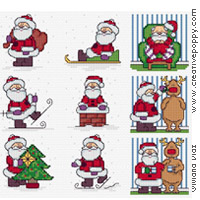 Christmas cards motifs - Santa cross stitch pattern by Maria Diaz Designs