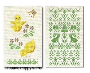 Perrette Samouiloff - 8 Easter motifs (with alphabets), cross stitch pattern chart