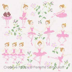 The Ballet dance lesson (large pattern) - cross stitch pattern - by Perrette Samouiloff
