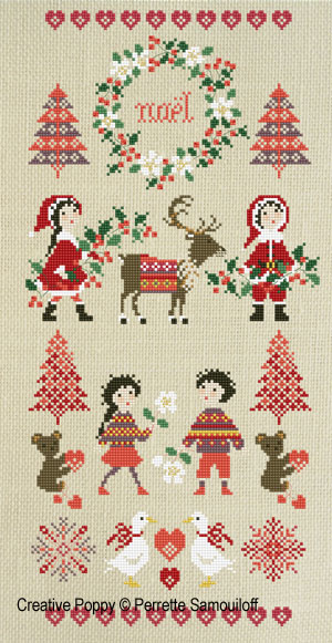 Nordic Christmas banner cross stitch pattern by Perrette Samouiloff