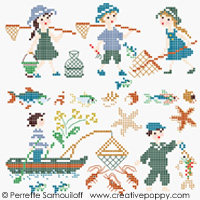 Gone fishing - color version (small pattern) - cross stitch pattern - by Perrette Samouiloff