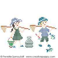 Gone fishing - color version (small pattern) - cross stitch pattern - by Perrette Samouiloff (zoom 1)