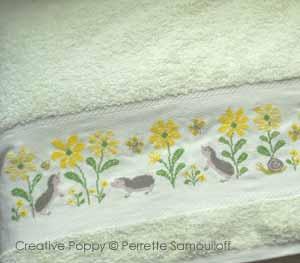 Perrette Samouiloff - Hedgehog towel series - design for Bath towel (cross stitch)