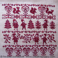 Red Christmas Sampler - cross stitch pattern - by Perrette Samouiloff