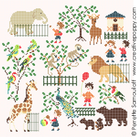 Baby at the Zoo (large pattern) - cross stitch pattern - by Perrette Samouiloff