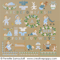 Teddies & Toddlers collection  - For baby boys - cross stitch pattern - by Perrette Samouiloff
