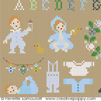 Teddies & Toddlers collection  - For baby boys - cross stitch pattern - by Perrette Samouiloff (zoom 1)