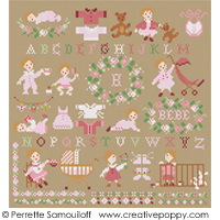 Teddies & Toddlers collection  - For baby girls - cross stitch pattern - by Perrette Samouiloff