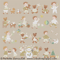 Teddies & Toddlers collection - cross stitch pattern - by Perrette Samouiloff