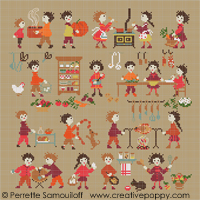 Happy Childhood collection  - In the kitchen - cross stitch pattern - by Perrette Samouiloff