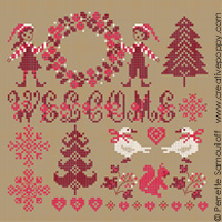 Christmas Welcome (small) - cross stitch pattern - by Perrette Samouiloff