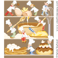 Busy Baking cakes - cross stitch pattern - by Sylvie Teytaud
