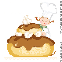 Busy Baking Cakes, counted cross stitch chart, designed by Sylvie Teytaud-Louche