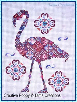 Flamingo-patches cross stitch pattern by Tam's Creations