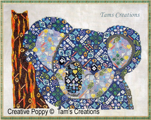 Koala in patches cross stitch pattern by Tam's Creations