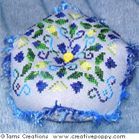 Blooming bluebells biscornus - cross stitch pattern - by Tam's Creations (zoom 1)