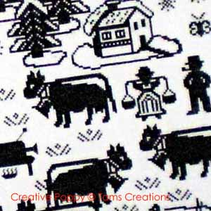 Cows, Sheep & Pigs patterns to cross stitch