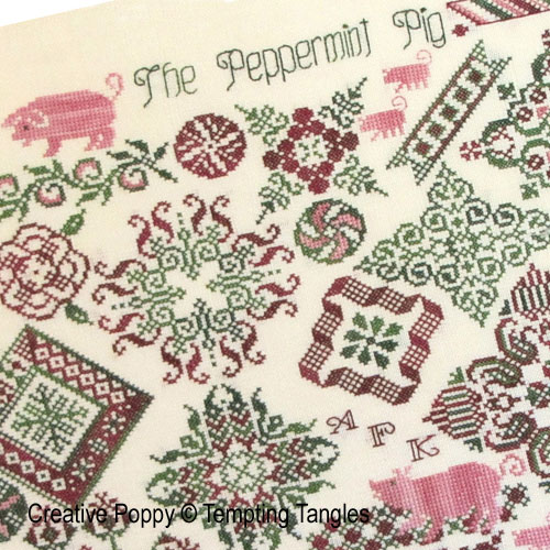 Tempting Tangles - Peppermint Pig zoom 1 (cross stitch chart)