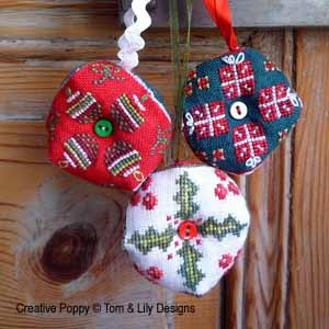 Christmas Biscornu Trio cross stitch pattern by Tom & Lili