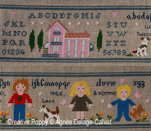 A story told in stitches: family portrait (to customize) cross stitch pattern by Agnès Delage-Calvet