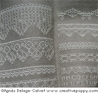 Lace borders sampler cross stitch pattern by Agnès Delage-Calvet, zoom 1