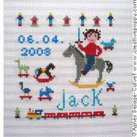Jack - birth sampler - cross stitch pattern - by Agnès Delage-Calvet
