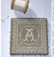 Lace pinkeep with monogram, counted cross stitch chart, designed by Agnès Delage-Calvet