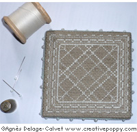 Lace pinkeep with monograms cross stitch pattern by Agnès Delage-Calvet, zoom 1