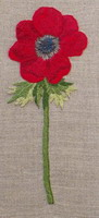 A red Poppy - embroidery pattern - by Agnès Delage-Calvet