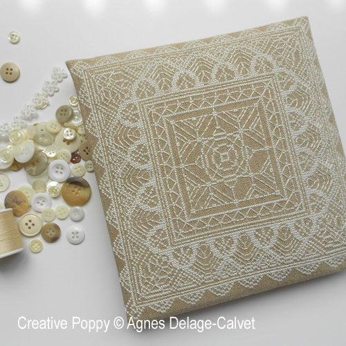 Agnès Delage-Calvet - White Lace Square & Borders (cross stitch chart)