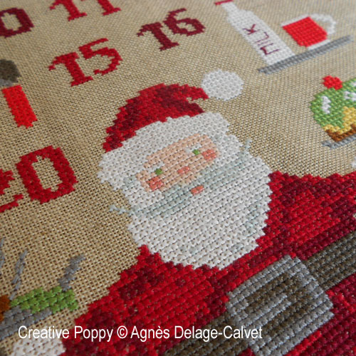 Santa's Baking Advent Calendar cross stitch pattern by Agnès Delage Calvet, zoom 1