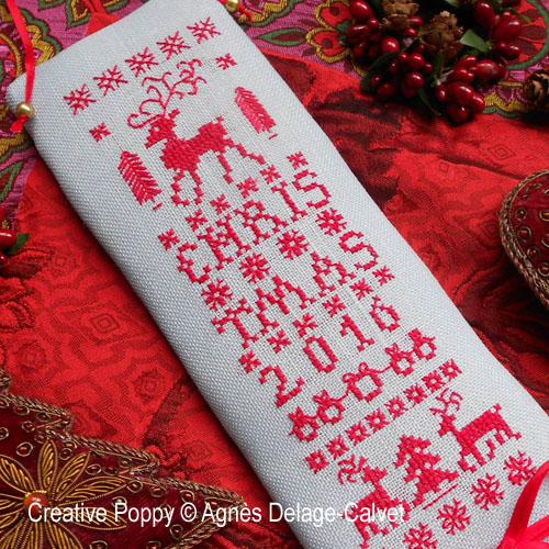 Reindeer Christmas banner cross stitch pattern by Agnès Delage-Calvet, zoom 1