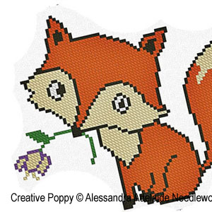 Alessandra Adelaide Needleworks - F is for Fox - Animal Alphabet zoom 1 (cross stitch chart)
