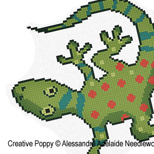 I is for Iguana, animal alphabet in cross stitch, by Alessandra Adelaide Needlework