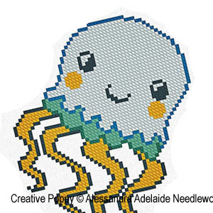 Alessandra Adelaide Needleworks - J is for Jellyfish - Animal Alphabet zoom 1 (cross stitch chart)