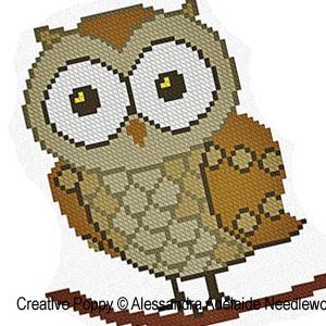 Alessandra Adelaide Needleworks - O is for Owl - Animal Alphabet zoom 1 (cross stitch chart)