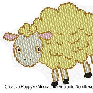 Alessandra Adelaide Needleworks - S is for Sheep - Animal Alphabet zoom 1 (cross stitch chart)