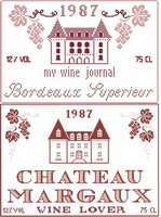 Bordeaux & Chateau Margaux - cross stitch pattern - by Monique Bonnin