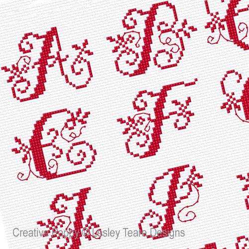 Alphabet Scroll cross stitch pattern by Lesley Teare Designs, zoom 1