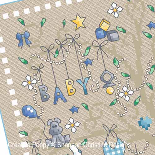 Baby Boy tree cross stitch pattern by Shannon Christine Designs, zoom2