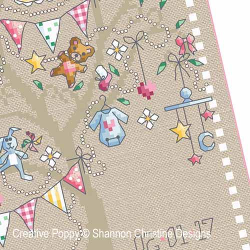 Baby Girl Tree cross stitch pattern by Shannon Christine Designs, zoom3