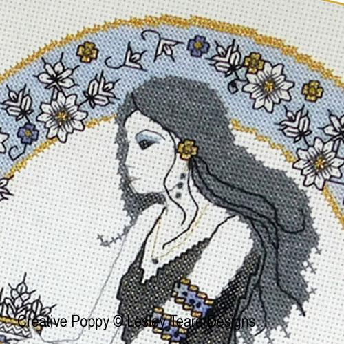Blackwork Autumn Beauty cross stitch pattern by Lesley Teare Designs, zoom 1